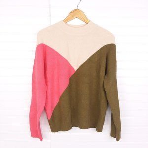 Rolee Cream Pink Green Colorblock Crewneck Sweater